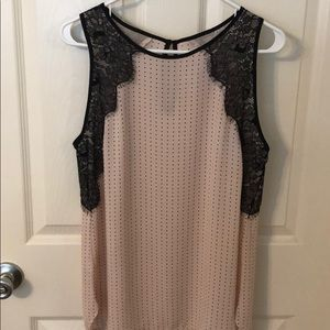 Loft dressy lace & polka dot top